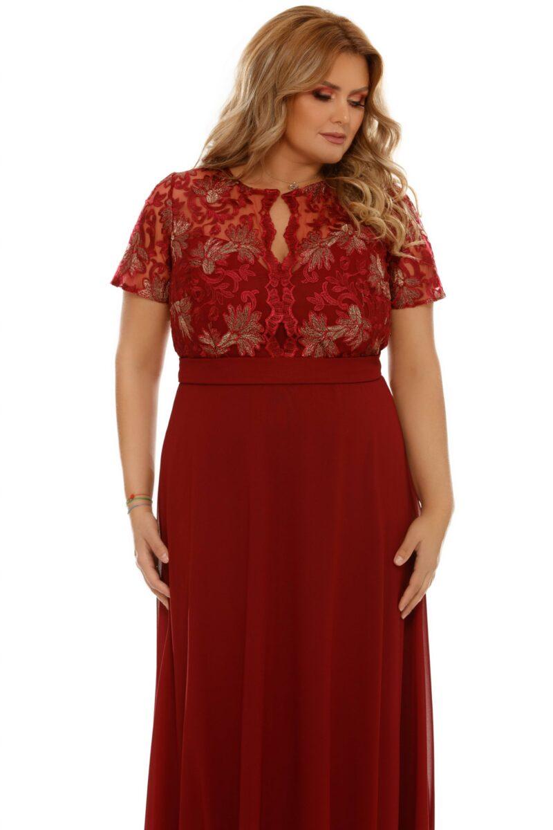 rochie plus size estela bordo 7 scaled