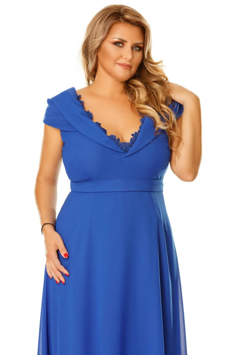 rochie plus size lena albastra 8