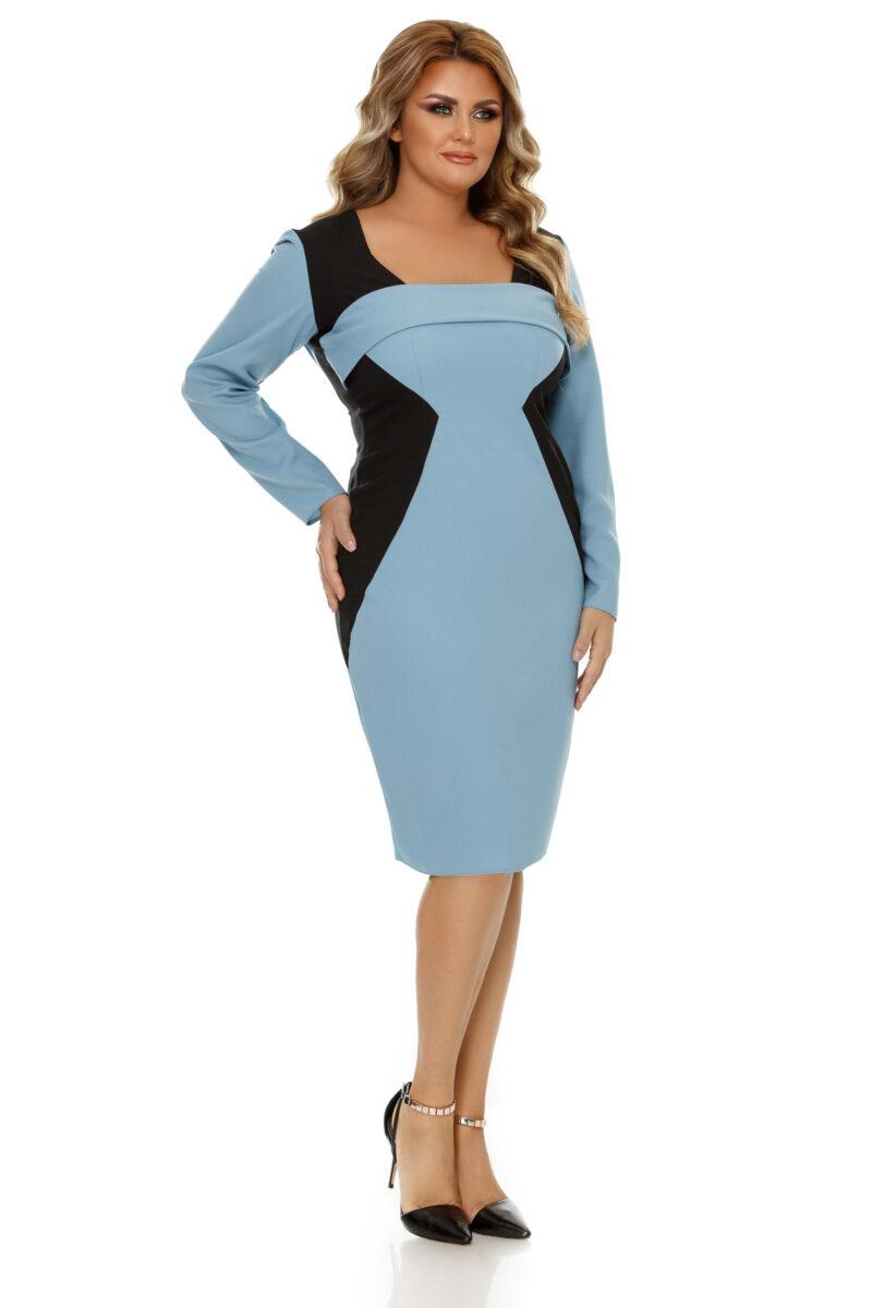rochie plus size zora bleu 6