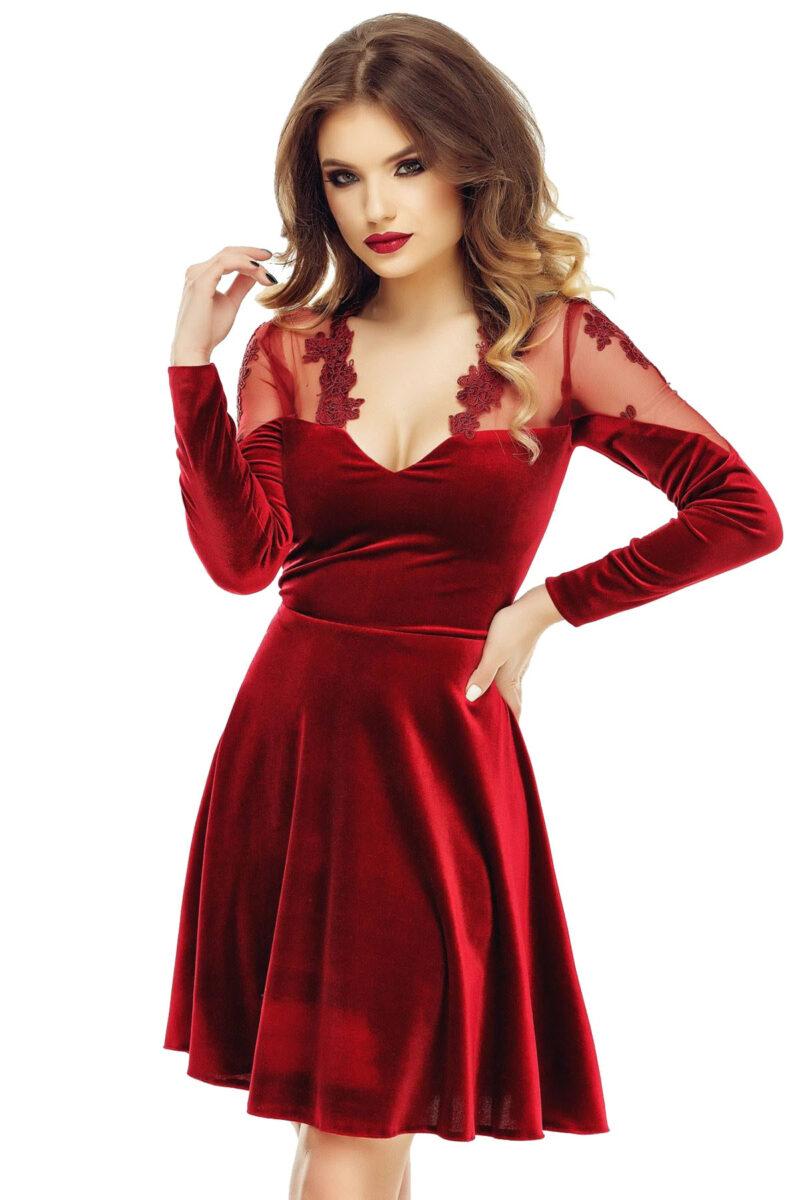rochie scurta de ocazie din catifea si dantela bordo antonia 4