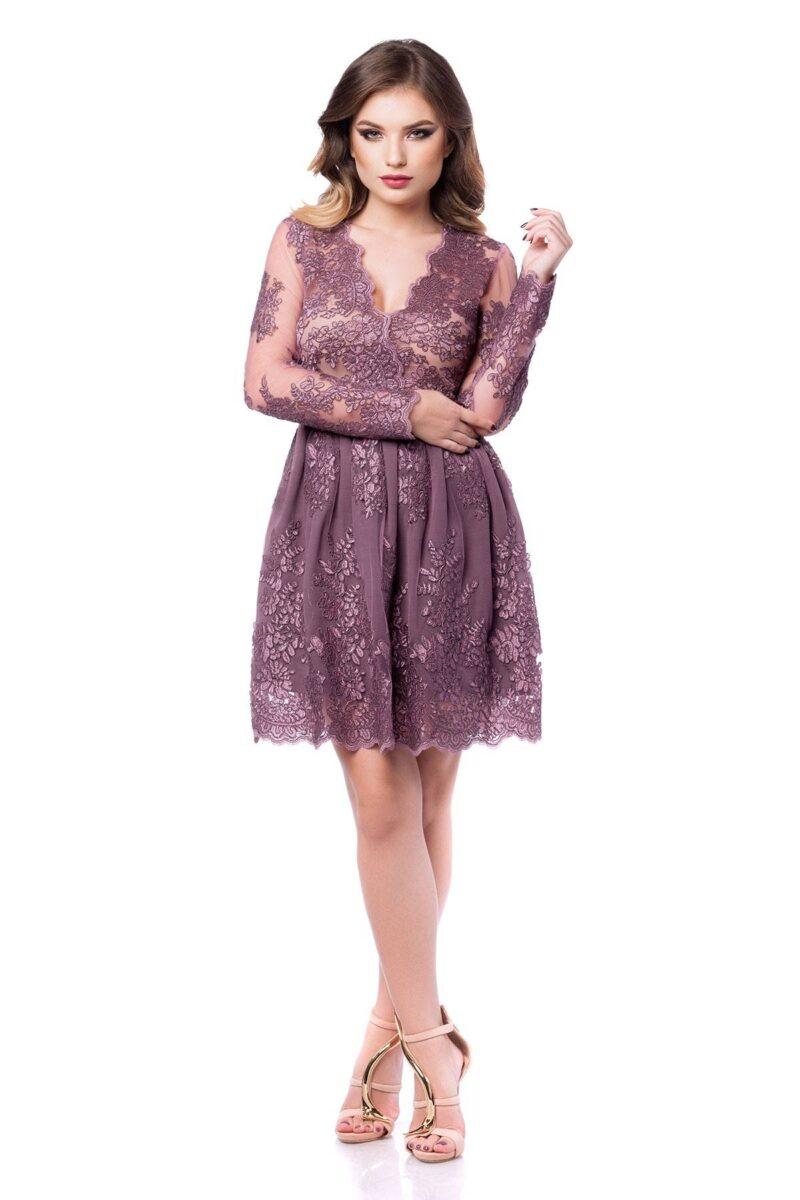 rochie scurta de seara din dantela pretioasa lila norina 3