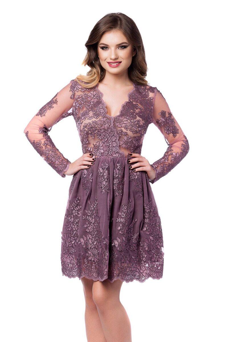 rochie scurta de seara din dantela pretioasa lila norina 4