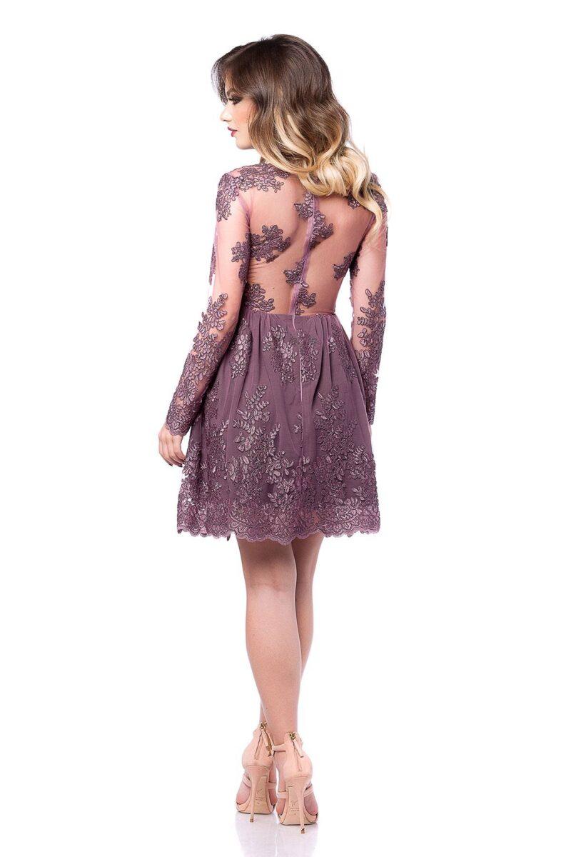rochie scurta de seara din dantela pretioasa lila norina 5