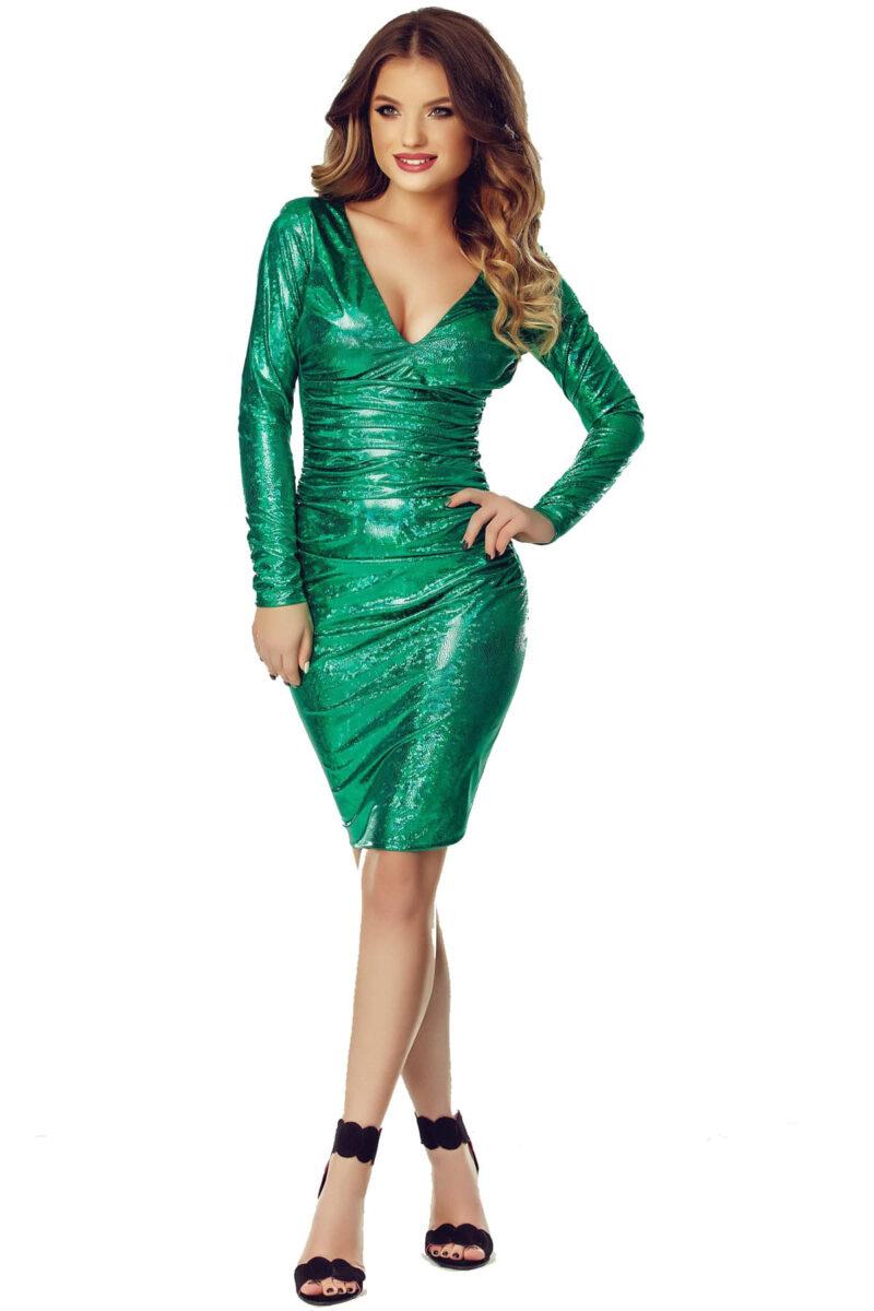 rochie scurta de seara din latex cameleonic verde luna 10
