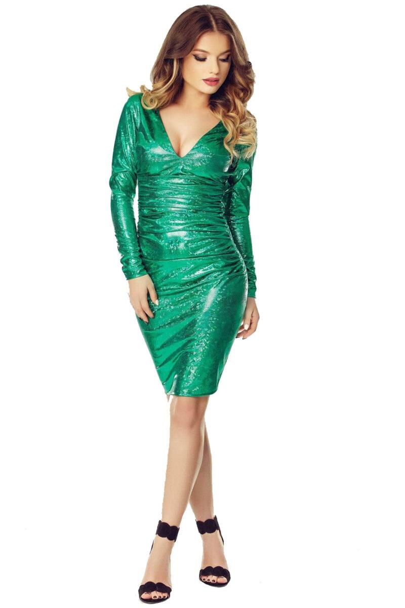 rochie scurta de seara din latex cameleonic verde luna 11