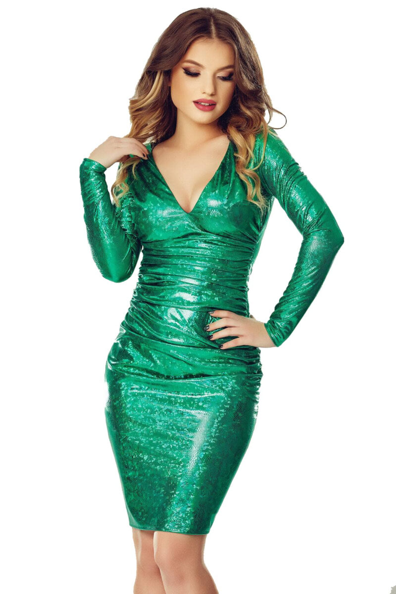 rochie scurta de seara din latex cameleonic verde luna 9