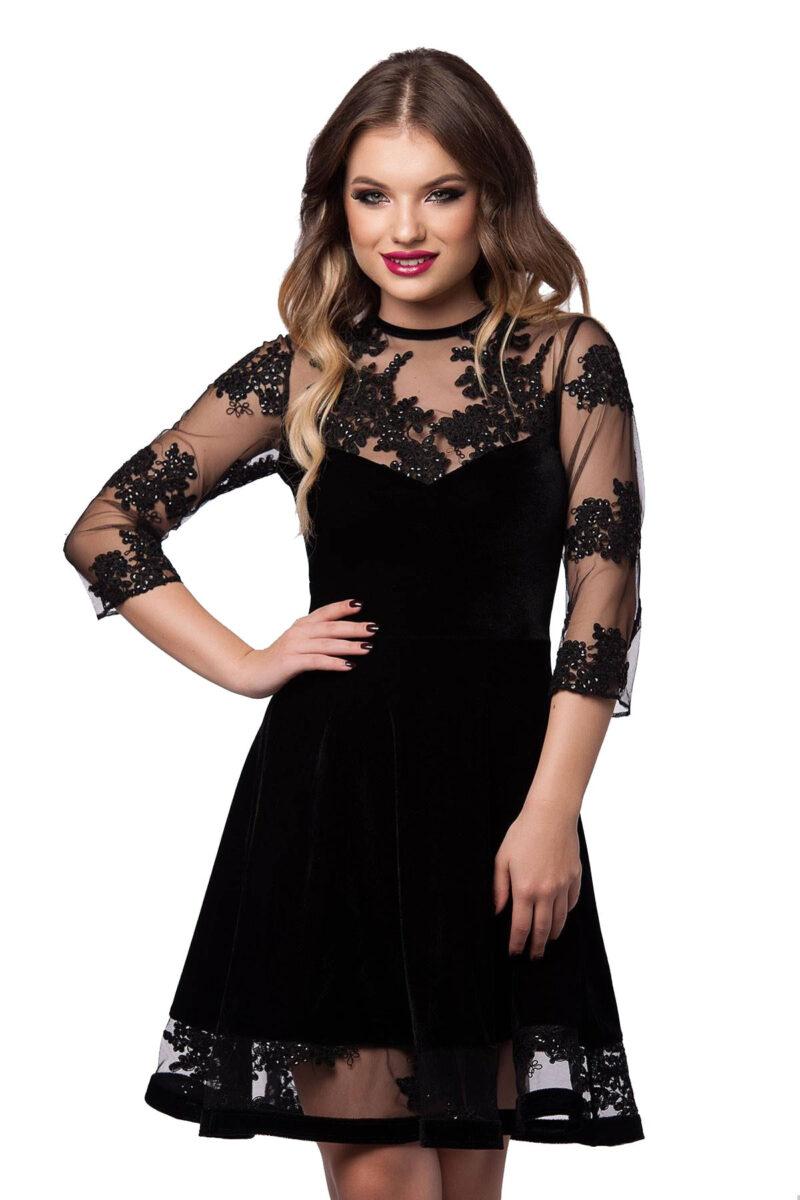 rochie scurta de seara neagra din catifea si dantela elisabeth 3