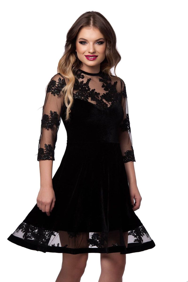 rochie scurta de seara neagra din catifea si dantela elisabeth 4
