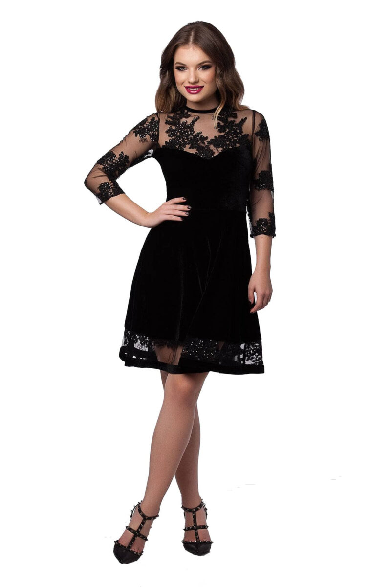 rochie scurta de seara neagra din catifea si dantela elisabeth 5