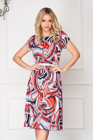 Rochie  albastra in clos scurta cu imprimeu grafic cu accesoriu tip curea cu maneci scurte
