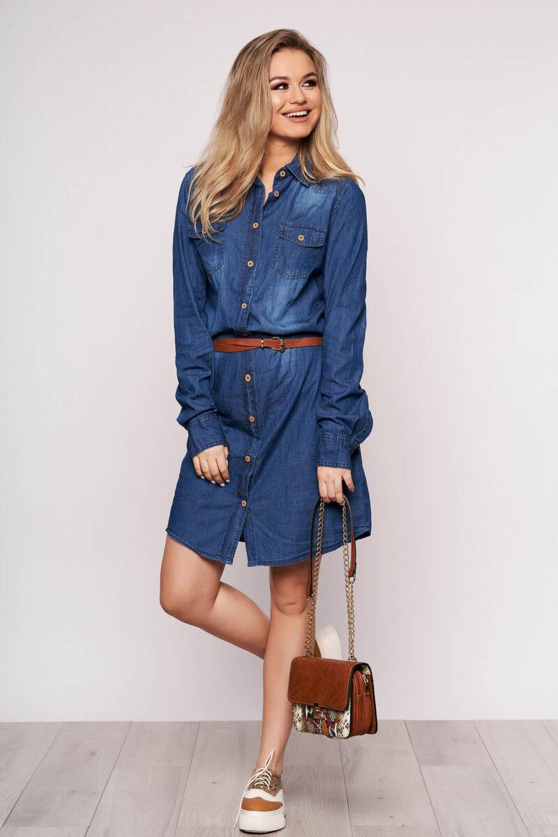 Rochie albastra scurta de zi cu croi larg din denim cu buzunare si accesoriu tip curea 2