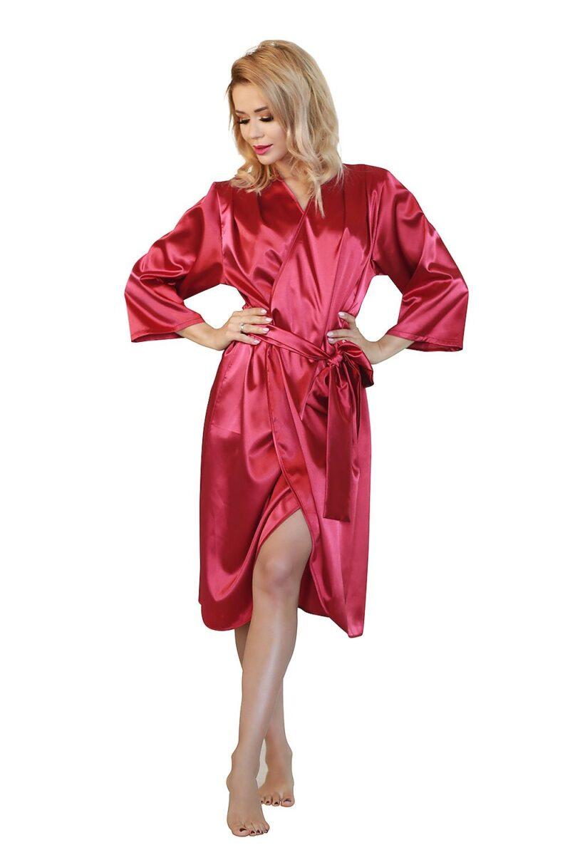 Halat pentru femei rosu cu maneci lungi