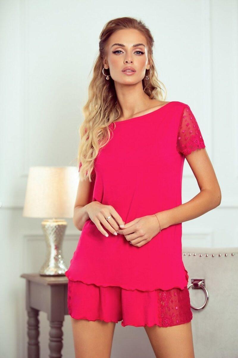 Pijama roz cu pantaloni scurti 2