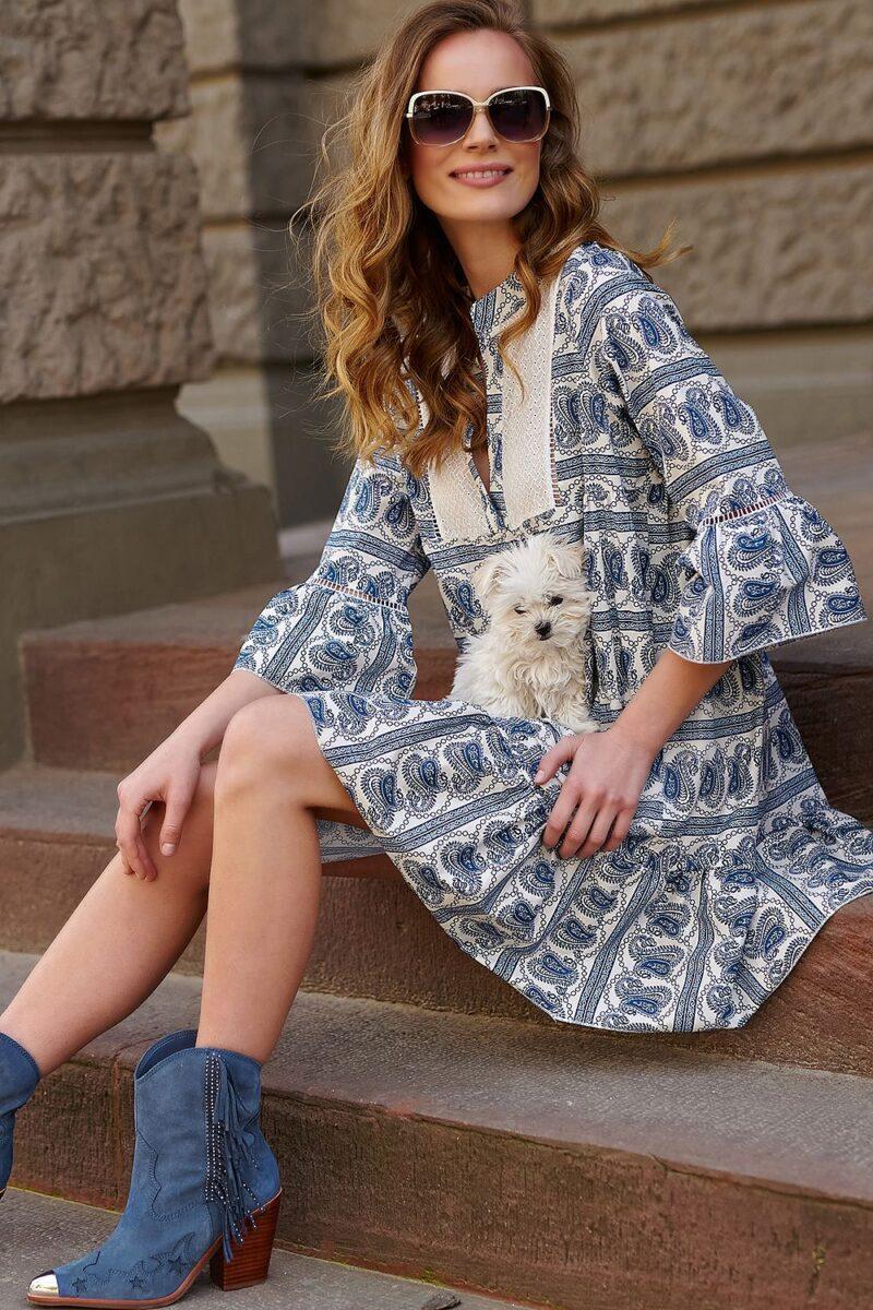 Rochie albastra larga din bumbac