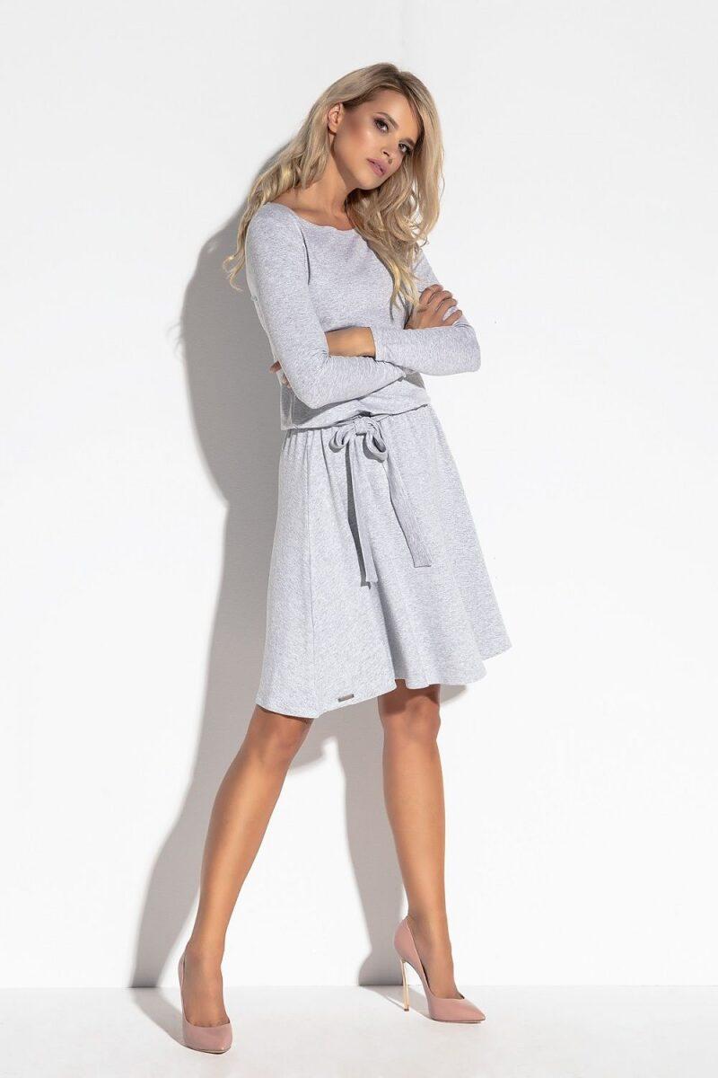 Rochie de zi gri vaporoasa cu maneci lungi