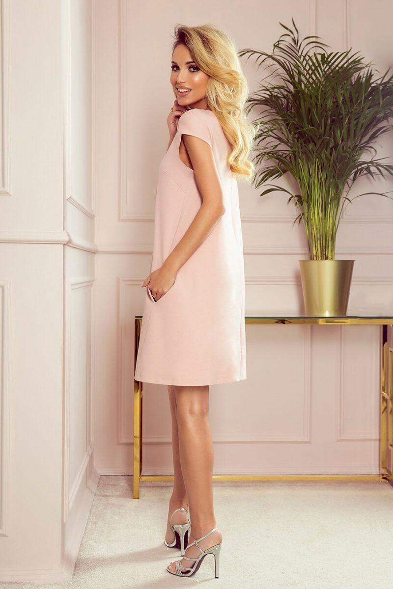 Rochie de zi roz scurta cu croi in A
