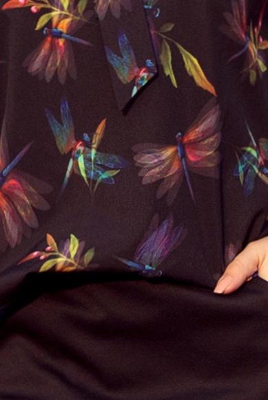 Camasa dama albastra inchis office cu fundita si imprimeu