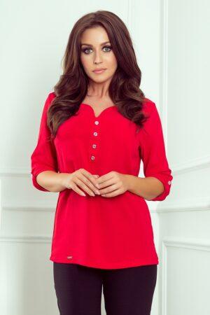 Camasa rosie cu nasturi si maneci trei sferturi