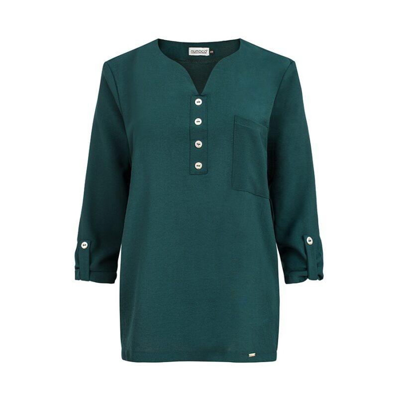 Camasa verde cu nasturi si maneci trei sferturi