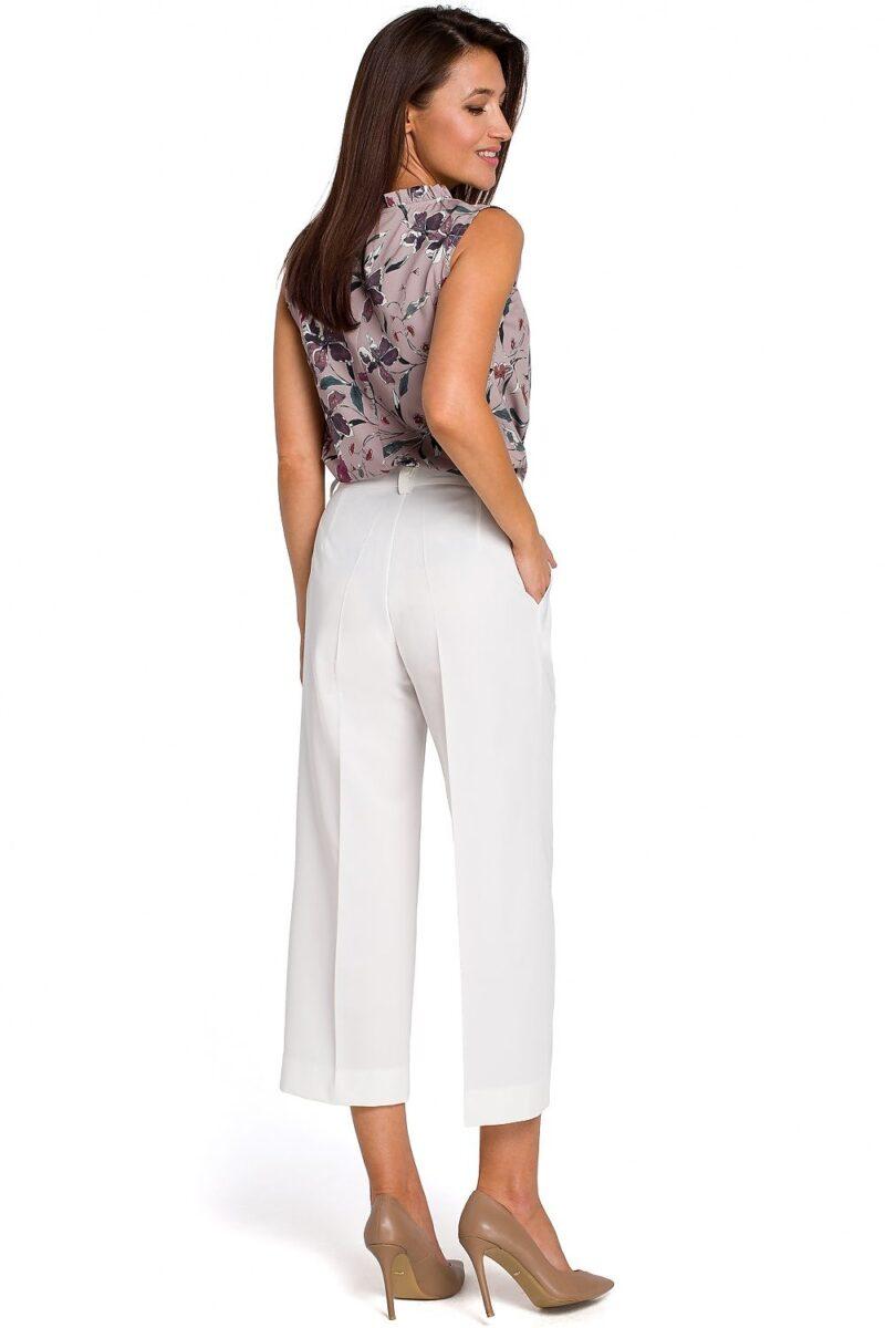 Pantaloni albi evazati casual cu talie inalta