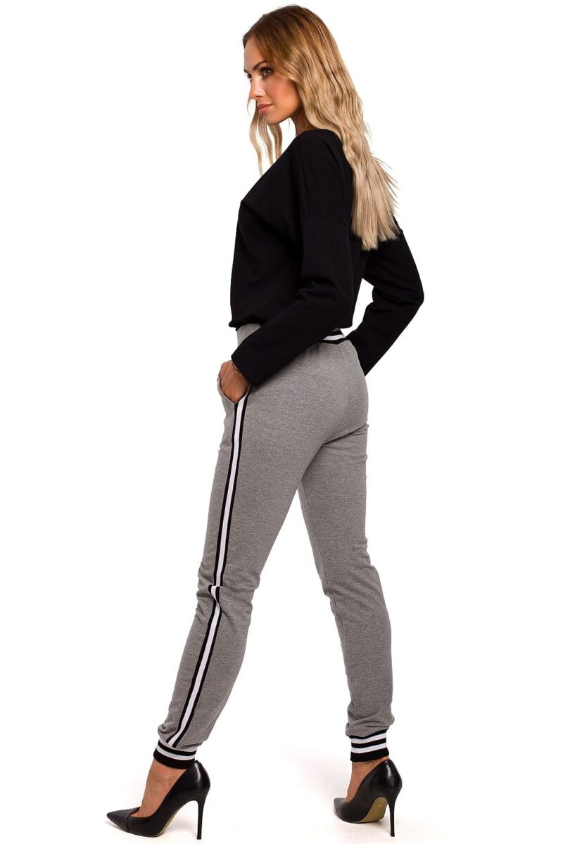 Pantaloni gri casual de dama din bumbac