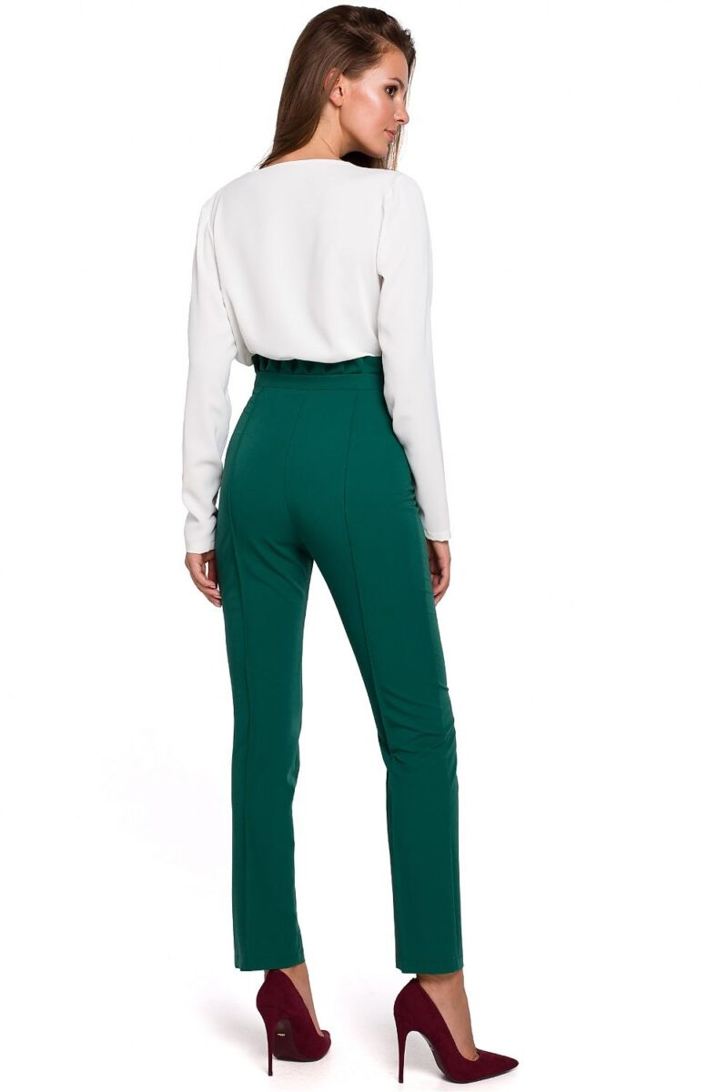 Pantaloni verzi casual cu talie inalta
