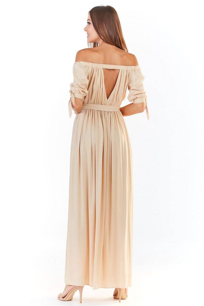 Rochie de zi bej lunga eleganta 3