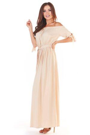 Rochie de zi bej lunga eleganta