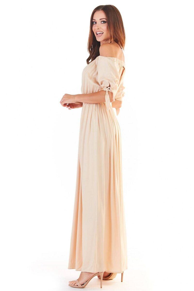 Rochie de zi bej lunga eleganta 4