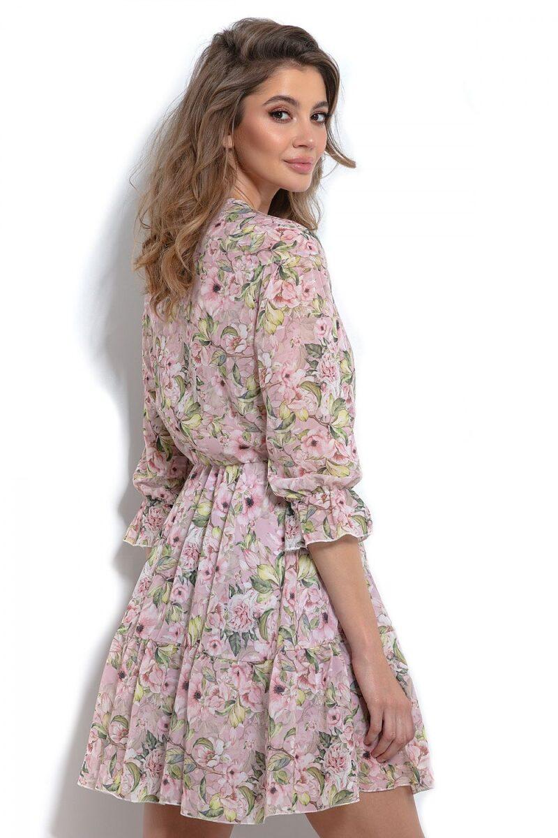 Rochie de zi roz cu imprimeu floral