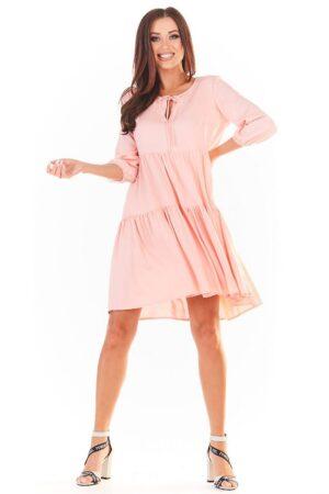 Rochie de zi roz midi cu volan