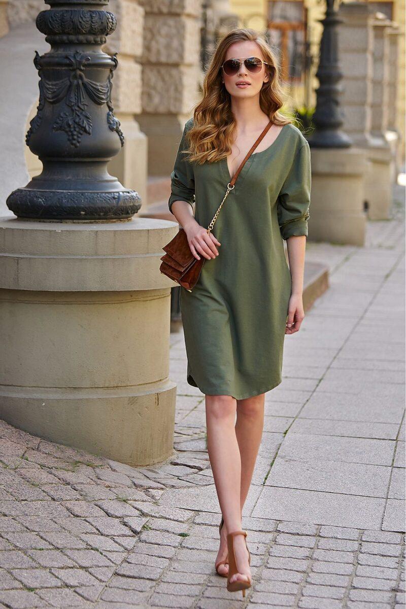 Rochie de zi verde din bumbac 2