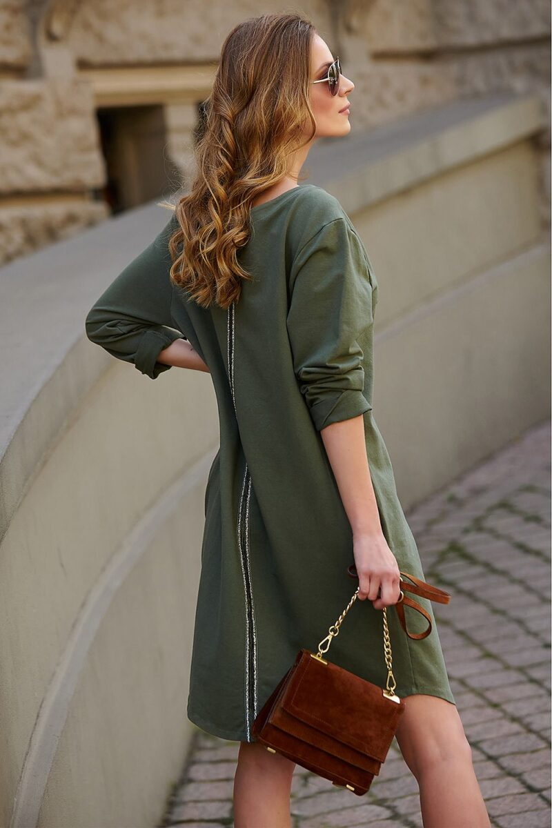Rochie de zi verde din bumbac 3