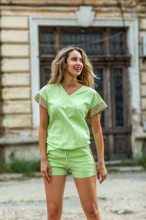 Compleu by Catalin Botezatu verde lime cu insertii din paiete