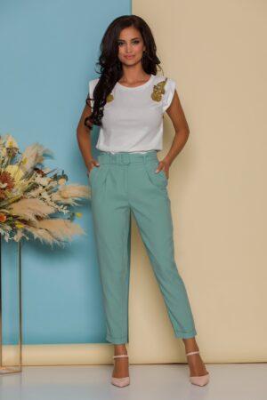 Pantaloni verde mint conici