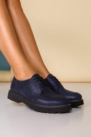 Pantofi  bleumarin sidefat cu sireturi