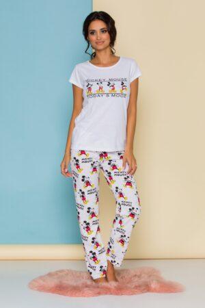 Pijama alba cu imprimeu
