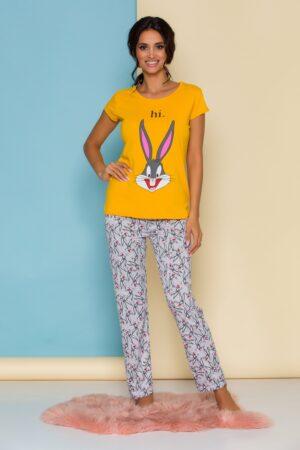 Pijama  cu bluza galbena si pantaloni gri cu imprimeuri