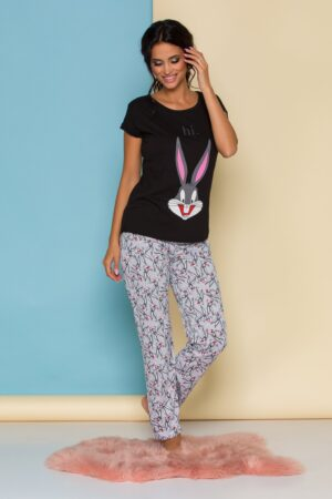 Pijama  cu bluza neagra si pantaloni gri cu imprimeuri