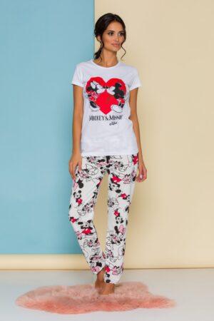 Pijama  cu tricou alb si pantaloni albi cu imprimeu