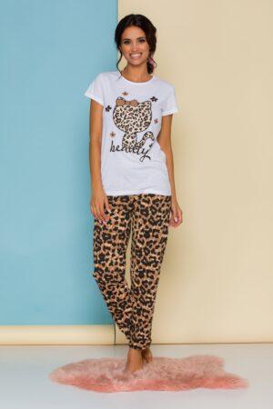 Pijama cu tricou alb si pantaloni animal print