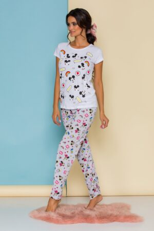 Pijama  cu tricou alb si pantaloni gri