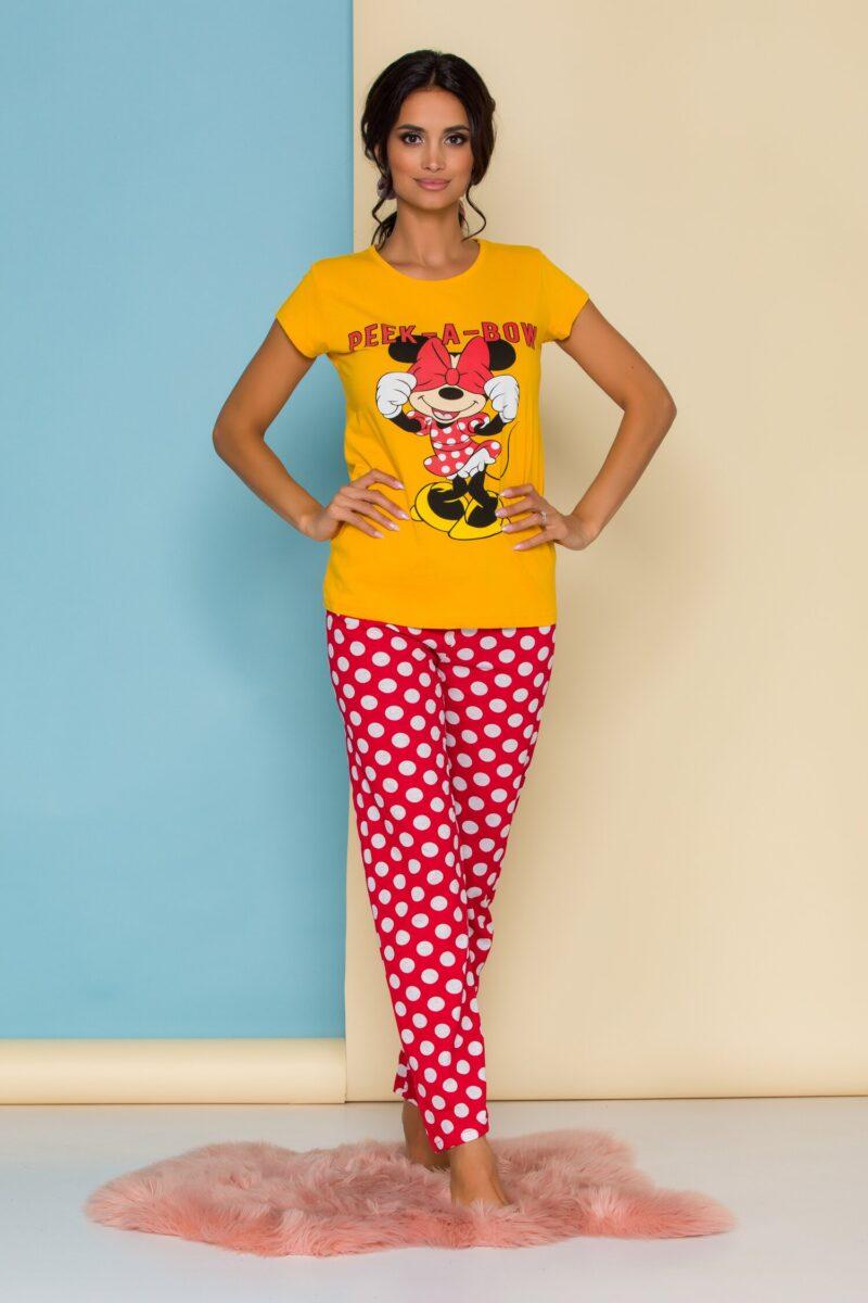Pijama cu tricou galben Minnie Mouse si buline