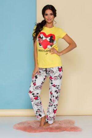 Pijama  cu tricou galben si pantaloni albi cu imprimeu