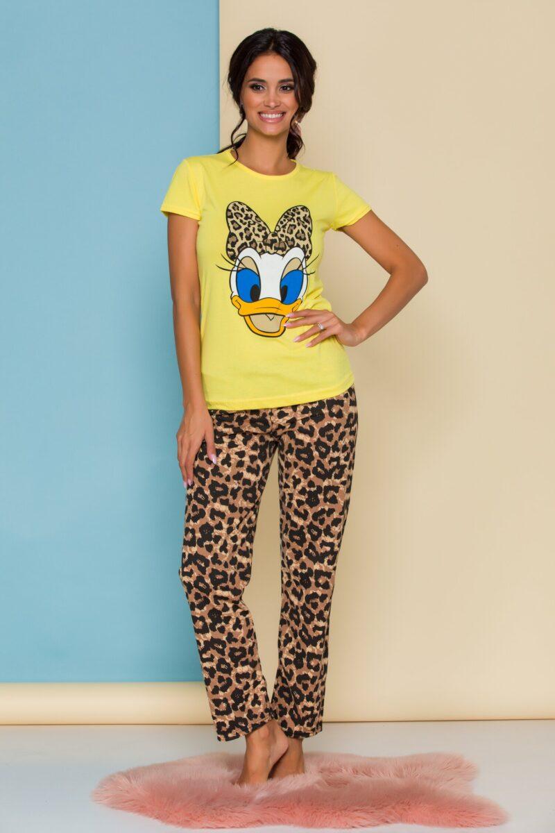Pijama  cu tricou galben si pantaloni cu animal print