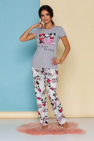 Pijama  cu tricou gri si pantaloni albi cu imprimeu