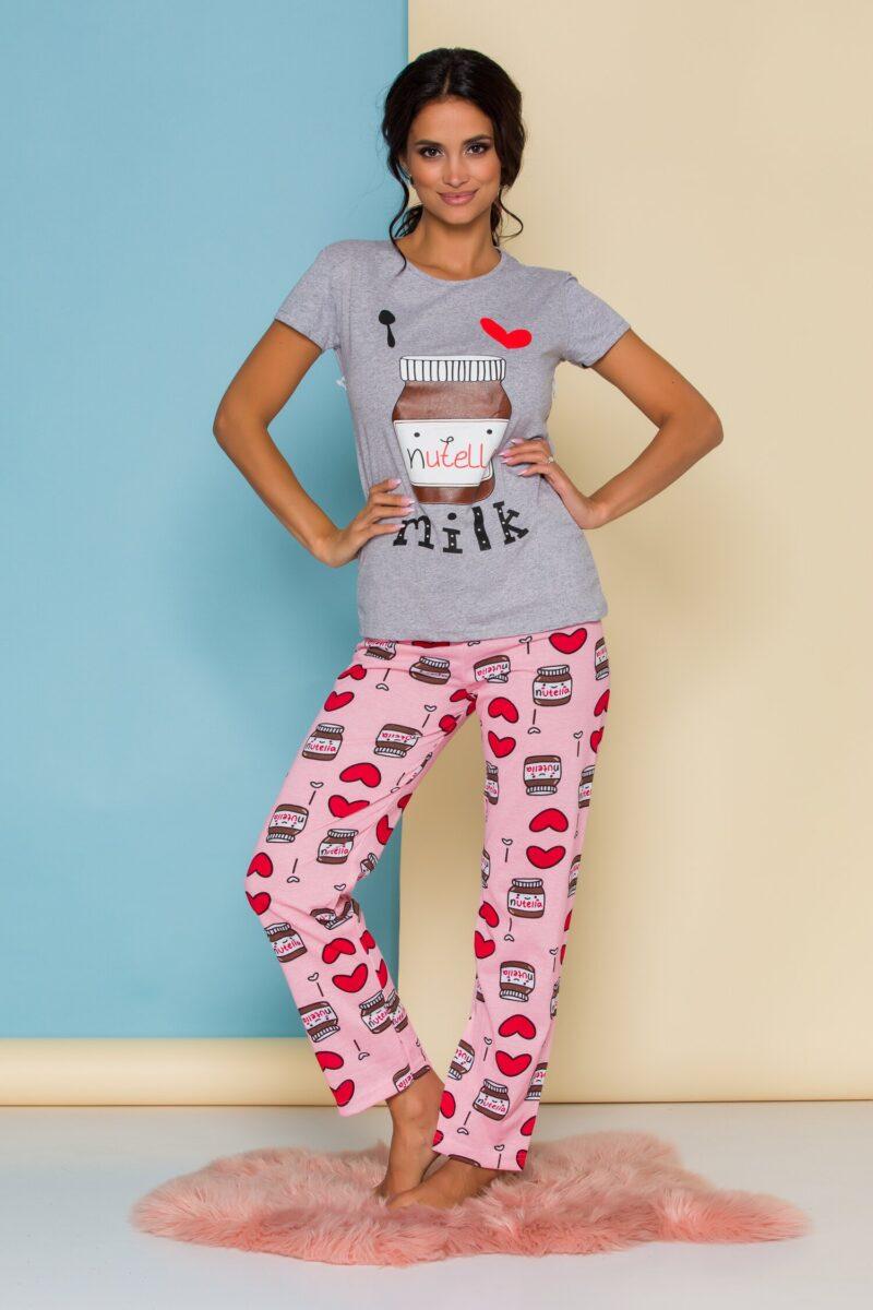 Pijama  cu tricou gri si pantaloni roz
