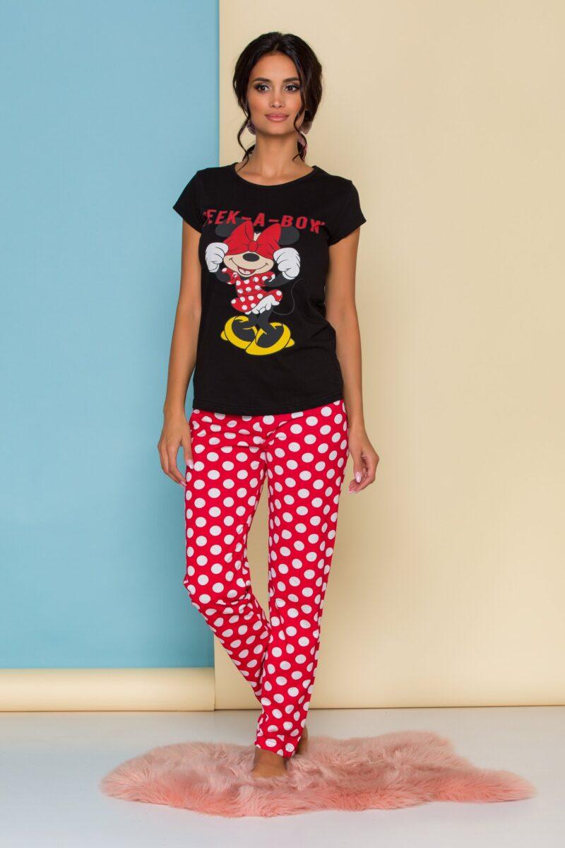 Pijama  cu tricou negru Minnie Mouse si buline