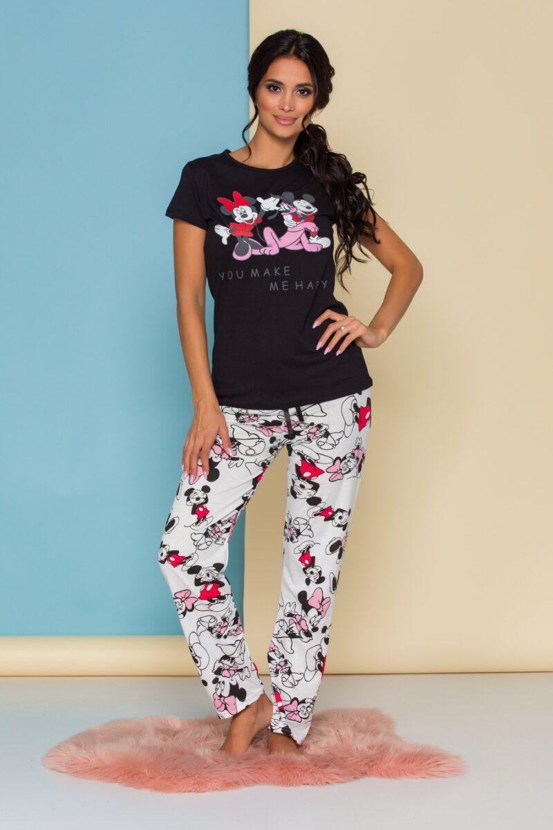 Pijama  cu tricou negru si pantaloni albi cu imprimeu