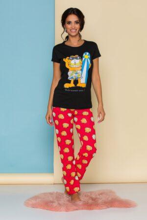 Pijama cu tricou negru si pantaloni rosii cu imprimeu